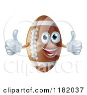 Cartoon Of A Happy American Football Mascot Holding Two Thumbs Up Royalty Free Vector Clipart
