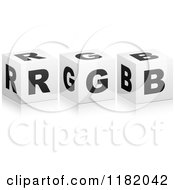 Clipart Of 3d Black And White Cubes Spelling RGB Royalty Free Vector Illustration