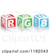 Clipart Of 3d Red Green And Blue RGB Cubes Royalty Free Vector Illustration