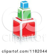 Clipart Of 3d Stacked Colorful Cubes Royalty Free Vector Illustration