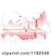 Clipart Of A Heart Beat Russian Map Royalty Free Vector Illustration by Andrei Marincas