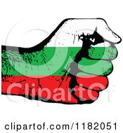 Clipart Of A Fisted Bulgarian Flag Hand Royalty Free Vector Illustration