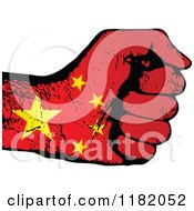 Clipart Of A Fisted Chinese Flag Hand Royalty Free Vector Illustration