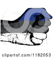 Clipart Of A Fisted Estonian Flag Hand Royalty Free Vector Illustration