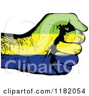 Clipart Of A Fisted Gabon Flag Hand Royalty Free Vector Illustration
