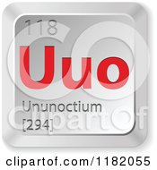 Clipart Of A 3d Red And Silver Ununoctium Chemical Element Keyboard Button Royalty Free Vector Illustration