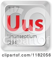 Clipart Of A 3d Red And Silver Ununseptium Chemical Element Keyboard Button Royalty Free Vector Illustration