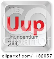 Clipart Of A 3d Red And Silver Ununpentium Chemical Element Keyboard Button Royalty Free Vector Illustration