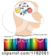 Clipart Of A Profiled Head With Colorful Sale Globes Over Colors Royalty Free Vector Illustration by Andrei Marincas