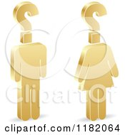 Clipart Of A 3d Gold Man And Woman With Question Mark Heads Royalty Free Vector Illustration