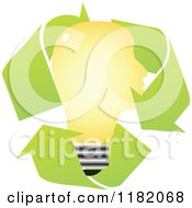 Clipart Of A Yellow Light Bulb Head In Recycle Arrows Royalty Free Vector Illustration by Andrei Marincas