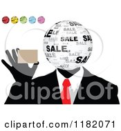 Clipart Of A Sales Globe Headed Man Holding A Card With Other Colored Globes In The Corner Royalty Free Vector Illustration