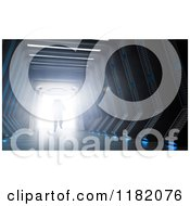 Clipart Of A 3d Astronaut Walking Through A Hallway To A Bright Light Royalty Free CGI Illustration