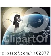 Clipart Of A 3d Astronaut Doing A Space Walk Against Sunrise And Earth Royalty Free CGI Illustration