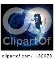 Clipart Of A 3d Astronaut Doing A Space Walk Against Earth At Sunrise Royalty Free CGI Illustration