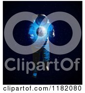 Clipart Of A 3d Astronaut And Glowing Earth Royalty Free CGI Illustration by Mopic