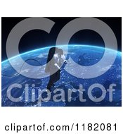 Clipart Of A 3d Astronaut Doing A Space Walk Over Europe Royalty Free CGI Illustration