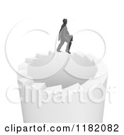 Clipart Of A 3d Businessman Walking On A Circle Of Endless Stairs Royalty Free CGI Illustration