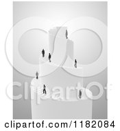 Clipart Of 3d Businessmen Climbing A Spiral Stair Tower Royalty Free CGI Illustration