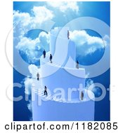 Clipart Of 3d Businessmen Climbing A Spiral Stair Tower To Heaven Royalty Free CGI Illustration