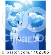 3d Businessmen Climbing A Spiral Stair Tower To Heaven