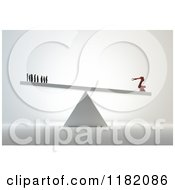 Clipart Of A 3d Industrial Robot Outweighing Human Workers On A Teeter Totter Royalty Free CGI Illustration