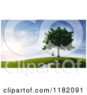 3d Lone Boy Swinging From A Tree On A Hill At Sunset