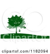 Clipart Of A Green Silhouetted Boy On A Tree Swing On A Hill Over White Royalty Free CGI Illustration by Mopic