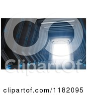 Clipart Of A 3d Science Fiction Hall And Gate With Bright Light Royalty Free CGI Illustration
