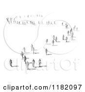 Clipart Of A 3d Crowd Of People Walking In Curvy Lines Royalty Free CGI Illustration