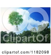 Clipart Of A 3d Tree Flying Away From A Forest And Into The Sky Royalty Free CGI Illustration by Mopic