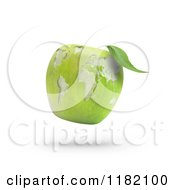 Clipart Of A 3d Floating Green Apple With A Carved Map Royalty Free CGI Illustration