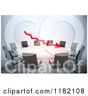 Clipart Of A 3d Red Arrow Floating Over A Meeting Table Royalty Free CGI Illustration
