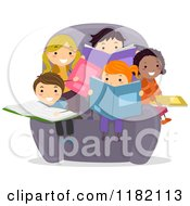 Cartoon Of A Group Of Happy Diverse Children Reading Books In A Chair Royalty Free Vector Clipart