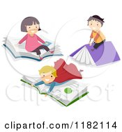 Cartoon Of Happy Imaginative Children On Story Books Royalty Free Vector Clipart