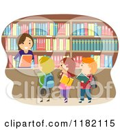 Cartoon Of A Happy Librarian Handing Books To Children Royalty Free Vector Clipart