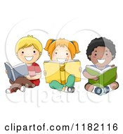 Cartoon Of Happy Diverse Children Reading Books On The Floor Royalty Free Vector Clipart