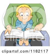 Cartoon Of A Happy Blond Toddler Boy Sitting In His Dads Lap And Reading A Story Book Royalty Free Vector Clipart