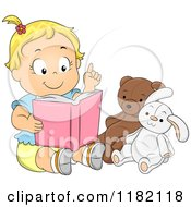 Cartoon Of A Blond Toddler Girl Pretending To Teach Her Stuffed Animals Royalty Free Vector Clipart
