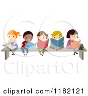 Cartoon Of A Group Of Happy Diverse Children Reading Books On A Bench Royalty Free Vector Clipart