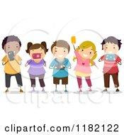 Cartoon Of Happy Diverse School Children Using Cameras Royalty Free Vector Clipart