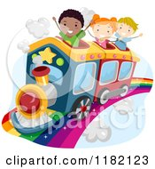 Cartoon Of Happy Diverse School Children Riding A Train On A Rainbow Royalty Free Vector Clipart