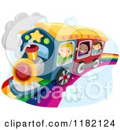 Cartoon Of Happy Diverse School Children Waving And Riding A Train On A Rainbow Royalty Free Vector Clipart