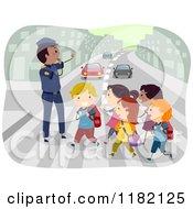 Cartoon Of A Crossing Guard Advising Children Crossing An Urban Street Royalty Free Vector Clipart