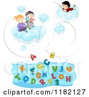 Cartoon Of Happy Diverse School Children In Clouds Fishing For ABC Alphabet Letters Royalty Free Vector Clipart