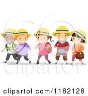 Cartoon Of Diverse School Children Wearing Hats Royalty Free Vector Clipart