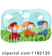 Cartoon Of Happy Diverse School Children In Number Cars Royalty Free Vector Clipart