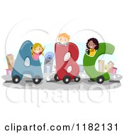 Cartoon Of Happy Diverse School Children In ABC Cars Royalty Free Vector Clipart
