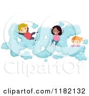 Cartoon Of Happy Diverse School Children In ABC Clouds Royalty Free Vector Clipart