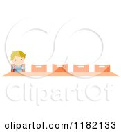 Cartoon Of A Lonely Blond School Boy Sitting At A Desk Alone Royalty Free Vector Clipart